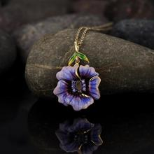 Women Elegant Noble Purple Big Flower Charm Pendant Necklace Handmade Cubic Zirconia Yellow Gold Clavicle Chain Sweater Necklace wholesale fine purple crystal pendants carved gold fish pendant sweater chain necklace luck for women men noble jewelry