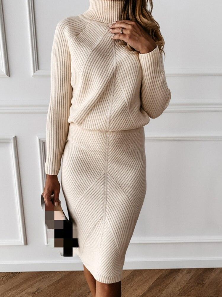 Skirt Suit Costume Knitting MVGIRLRU Slim Women's
