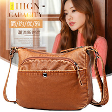 2020 new women's bag middle-aged mother shoulder Messenger bag casual ladies soft leather bag simple women's bag new casual fashion loading and unloading handle women leather handbags atmosphere wild shoulder slung middle aged mother bag