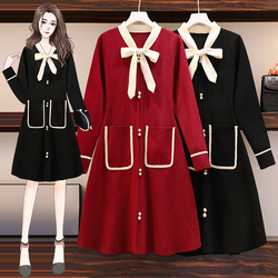 Women Shirts Middle Dress Bowknot Pocket Stripe Female Wear Autumn Spring New Big Body Fat Loose Large Graceful Dress