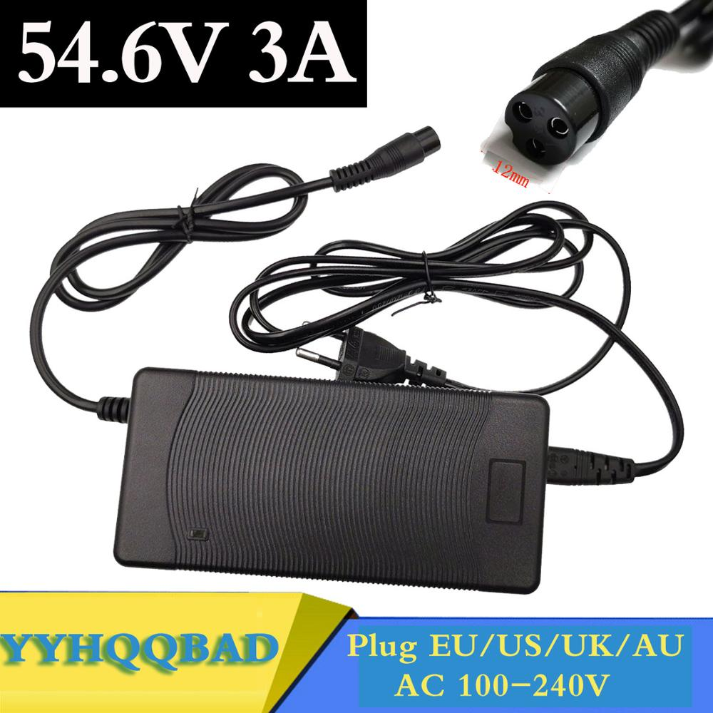 54 6V 3A electric bike lithium battery charger for 48V lithium battery pack 3 pin female connector XLRF XLR 3 sockets