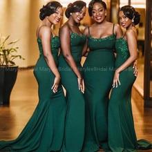 Dark Green African Bridesmaid Dress Spaghetti Straps Long Sa