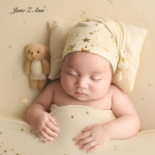 Jane Z Ann Starlight sleeping hat +pillow / bear set baby newborn photography props hot gold star not including backdrop