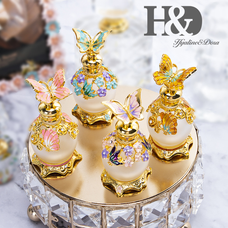 H&D 4 Color Gold Butterfly Perfume Bottle Retro Glass Empty Refillable Essential Oil Container Home Wedding Decor Lady's Gift