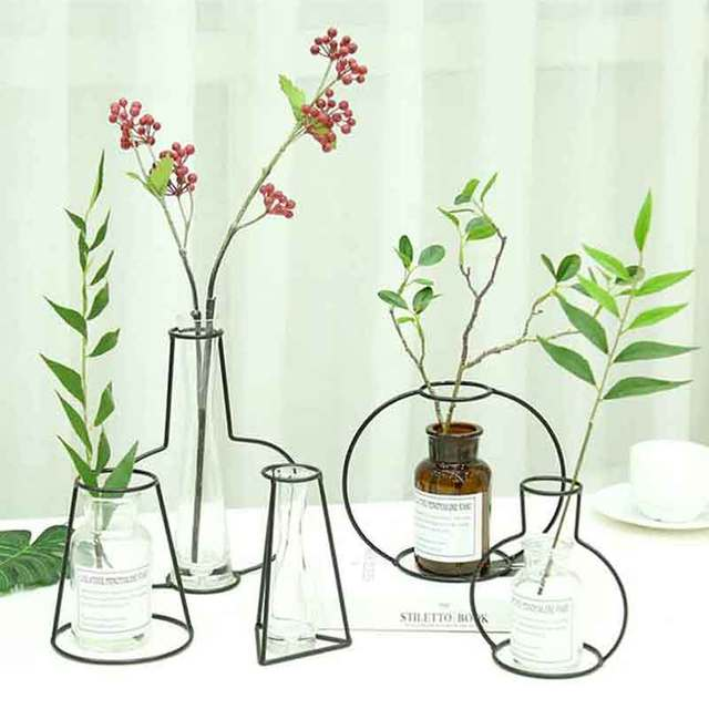 Creative Art Iron Vase Planter Rack Home Decoration Accessories Modern Flower Pots Shelf Soilless Organizer Dried Flower Vases 5