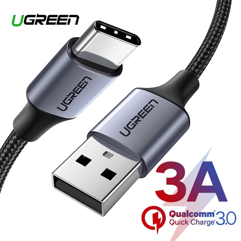 Ugreen Nylon USB tipo C Cable para Samsung Galaxy Note 9 S9 S8 Cable de datos de carga rápida para Xiaomi Mi6 huawei Nexus 6 P USB tipo C