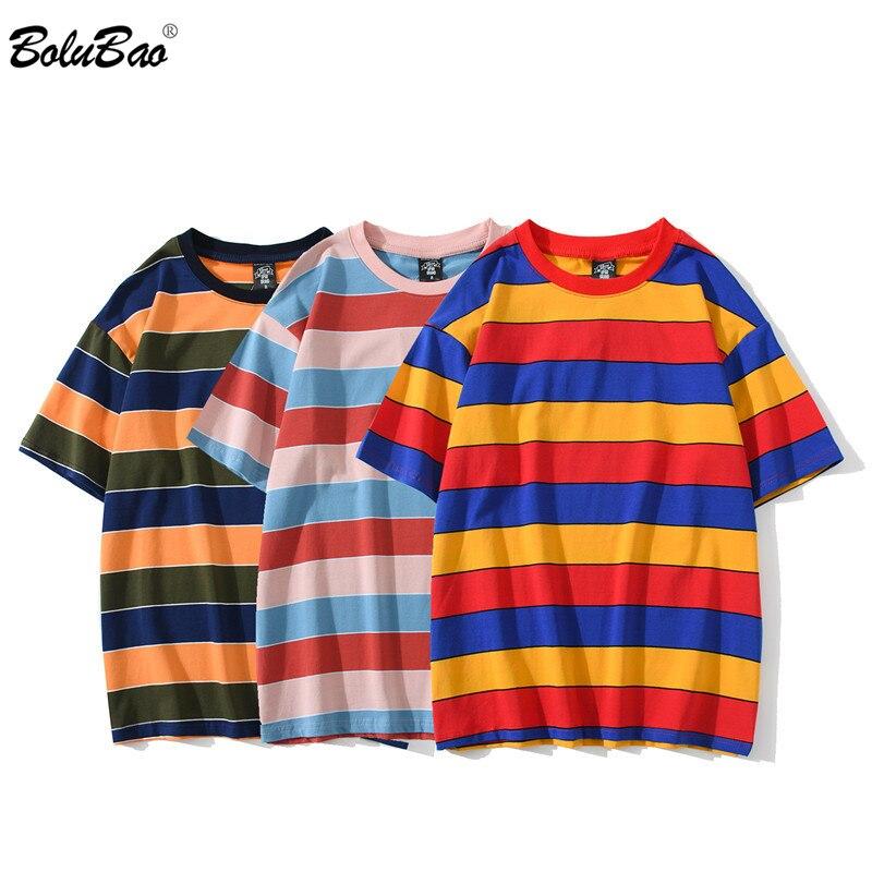 BOLUBAO 2020 летние Брендовые повседневные Промытые футболки мужские винтажные контрастные 100% хлопковые топы в полоску Модные мужские футболки