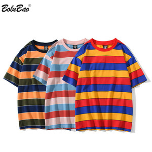 BOLUBAO 2020 Summer New Casual Washed T-Shirts Men Vintage Contrast Striped 100% Cotton Tops Male T Shirt