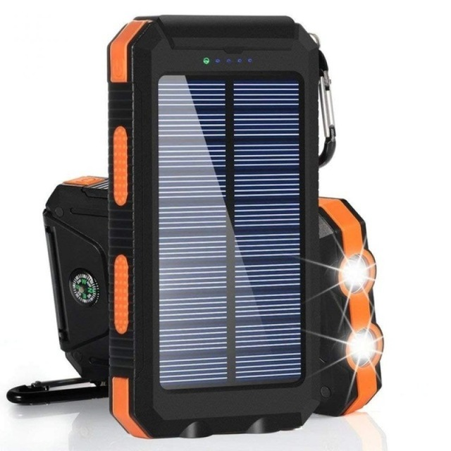 Solar Power Bank 30000mAh Panel Large-capacity Portable Phone Battery Dual USB Charger LED Lighting Outdoor Travel Charger 2