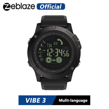 Hot Zeblaze VIBE 3 Flagship Rugged Smartwatch 33 month Standby Time 24h All Weather Monitoring Smart Watch For IOS And Android