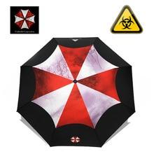 مثل المطر الإبداعية فيلم Biohazard مظلة موضة الرجال للطي التلقائي المظلات المطر النساء طلاء أسود مظلة واقية من الشمس UBY17