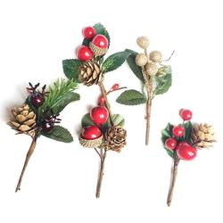 10pcs Christmas Dried Flower Greeting Card Accessories Pine Cone Dried Flower Branch
