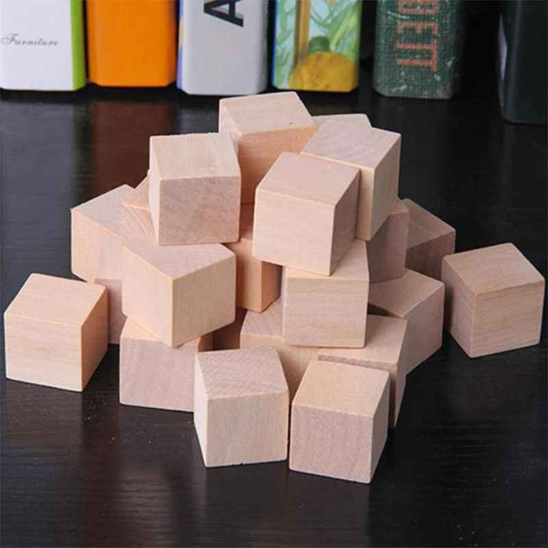 Wooden Cubes Natural Unfinished Craft Wood Blocks for Baby Shower Pack of 20 Y4QA