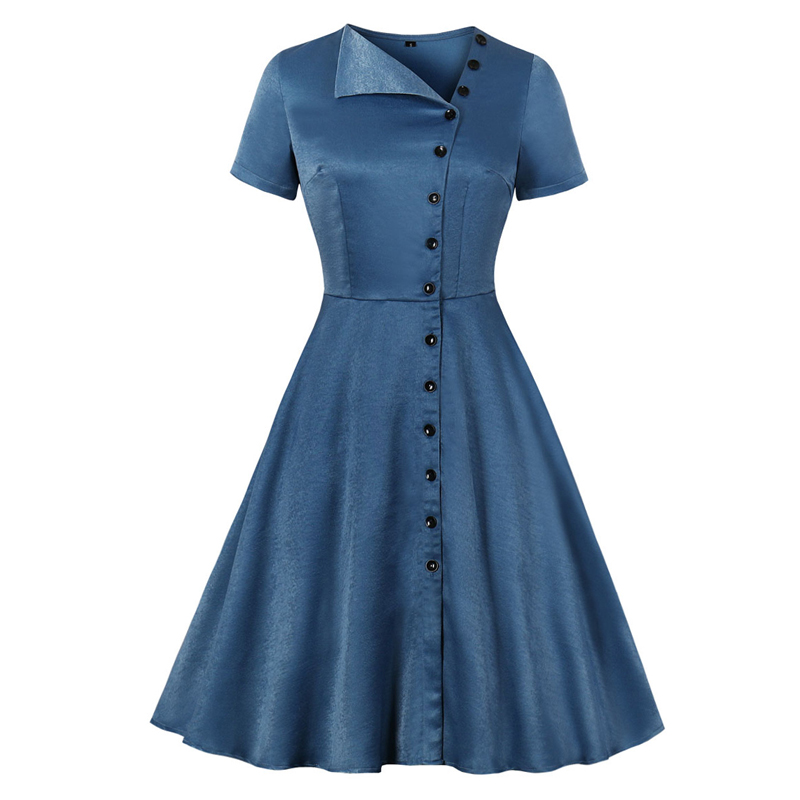 Women <font><b>1940s</b></font> <font><b>Vintage</b></font> Blue Swing <font><b>Dress</b></font> Casual Tunic Asymmetrical Neck Single Breasted Button Up A Line Elegant Summer Party <font><b>Dress</b></font> image