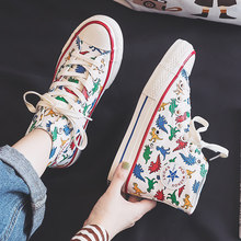 Girls Canvas Shoes Dinosaur High Up Sneakers Cartoon Cute Dino 2019 Autumn New Preppy Style Cool Fashion Women Casual Shoes(China)