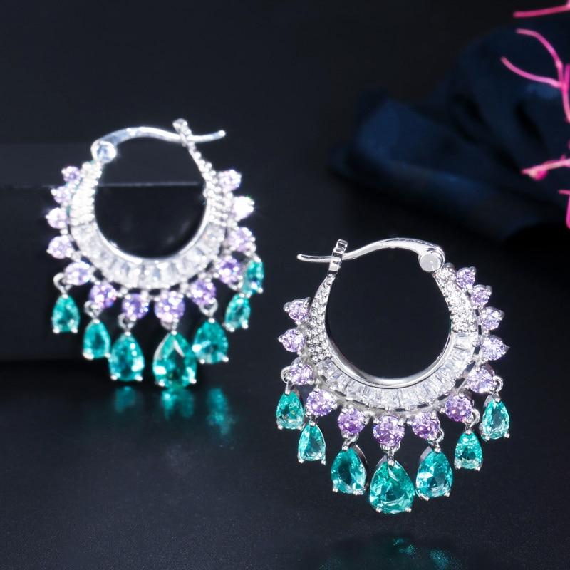 Cwwzircons elegante roxo azul cz cristal balançar