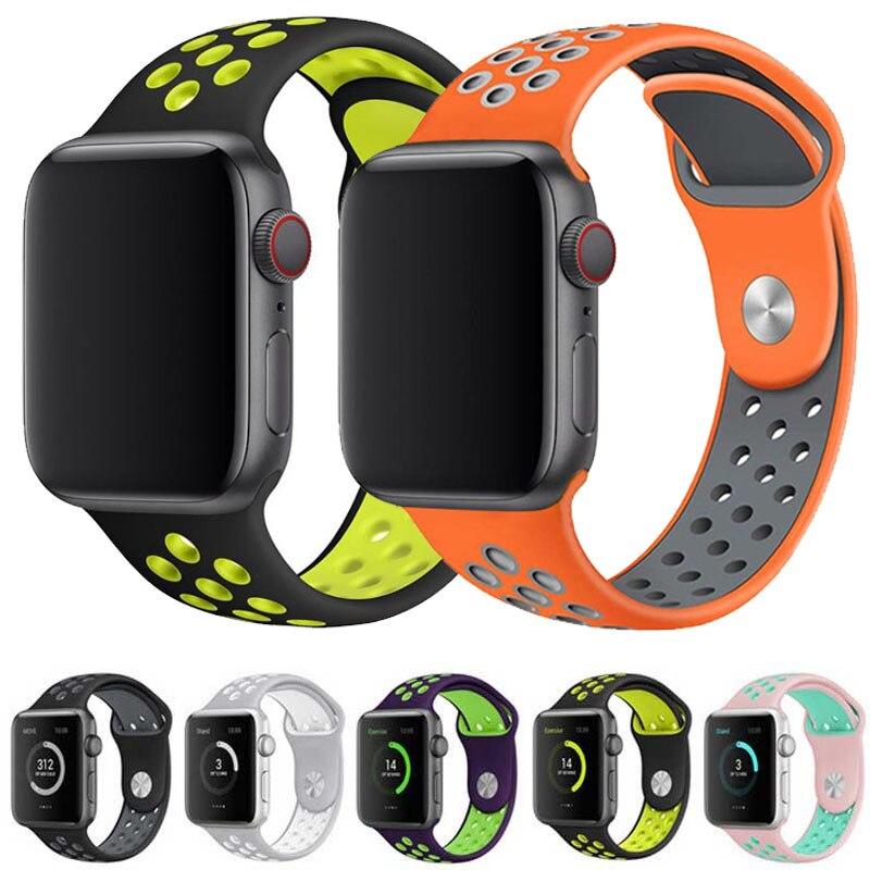 Soft Strap For Apple Watch Band 42mm 44mm 40mm 38mm Bracelet Sport Wrist Watch Belt Rubber Watchband Iwatch 4/3/2/1 Nike+metal