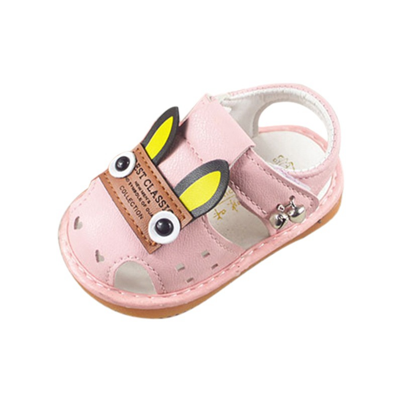 Summer PU Leather Baby Girl Shoes Toddler Baby Cartoon Boys Girls Shoes With Sound Soft-Soled First Walkers