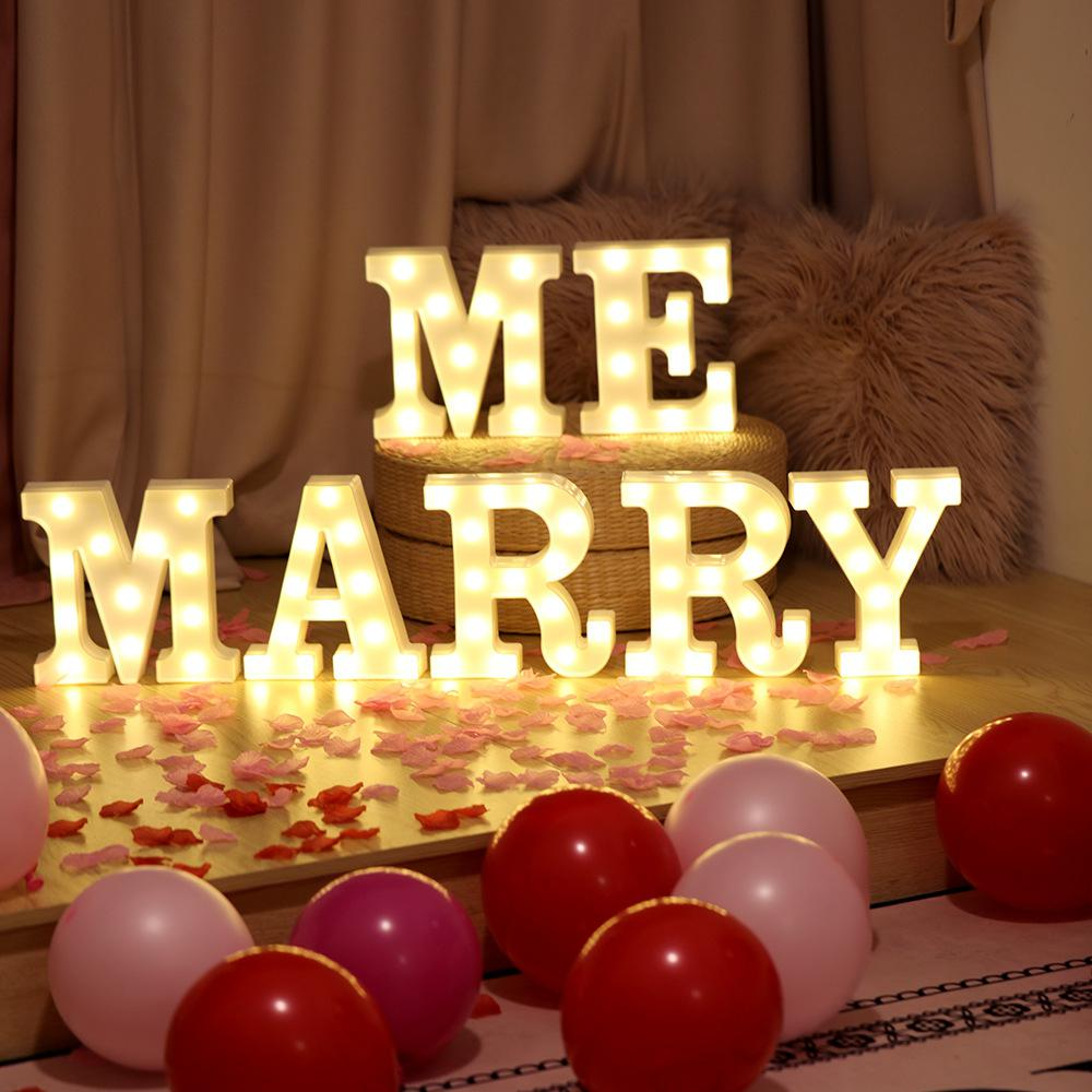 Marry Me Sign LED Night Lights Valentine Gift Propose Wedding Engagement Sign Happy Birthday L Love U Sign Wedding Decoration