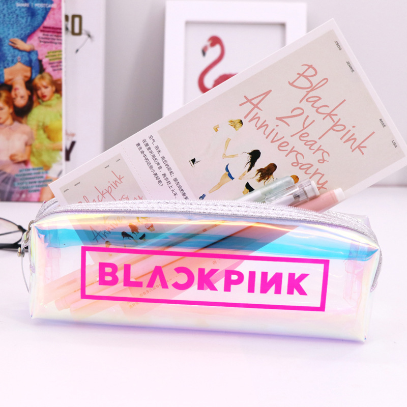 New Style BLACKPINK Pencil Case Girl'S Laser Simple Celebrity Related Goods Stationery Box Small Fresh New Sprout Sister Pencil