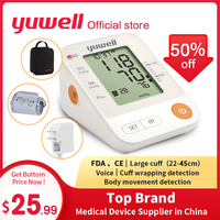 Yuwell YE670D LCD Digital Arm Blood Pressure Monitor Cuff Wrapping Automatic Sphygmomanometer Heart Rate Medical Home Equipment