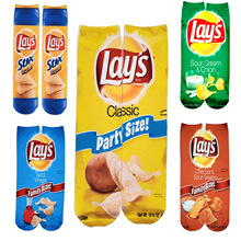 Fashion Unisex 3D Printing Mens Art Socks Autumn Potato Chips Funny Long Socks