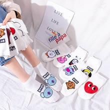 cute funny socks white ankle meias cartoon panda love print korean kawaii fashion calcetines harajuku women designer short sock
