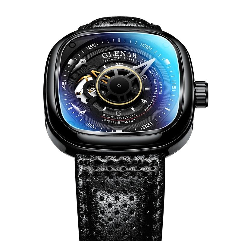 Glenaw Design Brand 2021 Men Hollow Automatic Black Mechanical Watch GMT  Top Brand Reloj Hombre Watches Waterproof 4