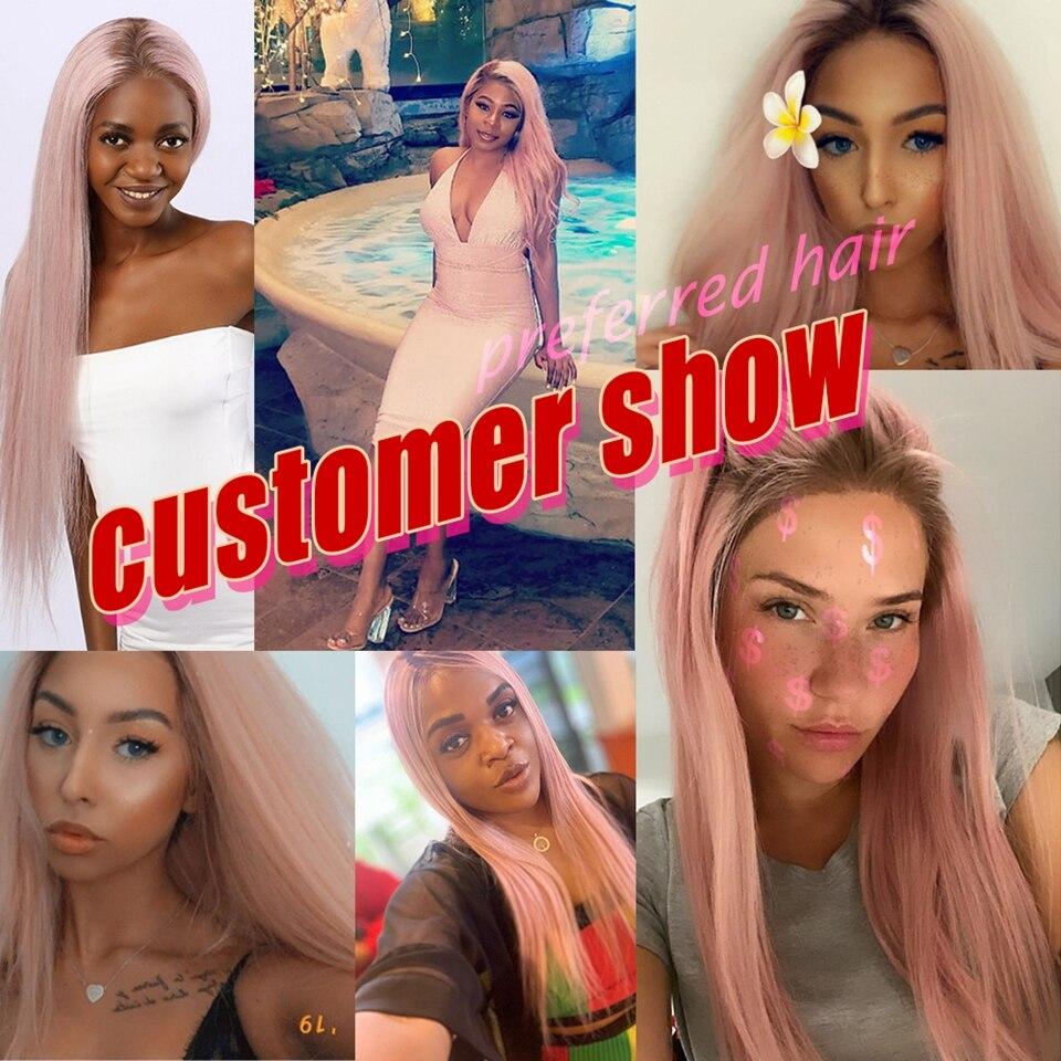 Préféré Ombre rose perruque de cheveux humains violet droite dentelle avant perruque avec des cheveux de bébé brésilien Remy Transparent dentelle perruques pour les femmes - 4