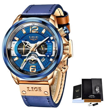 2021 LIGE Casual Sports Watch for Men Top Brand Luxury Military Leather Wrist Watches Mens Clocks Fashion Chronograph Wristwatch 6