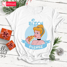 Women's Bad Girl Princess Pattern Printed Tshirt Girl Short Sleeve Bitch Please
