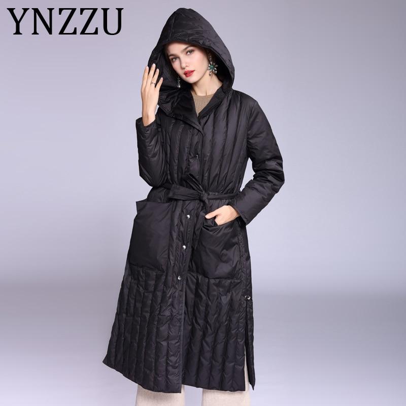 YNZZU Elegant 2019 Autumn Winter Women's Down Jacket Solid Long Split 90% White Duck Down Coat Hooded Warm Ladies Outwears A1138