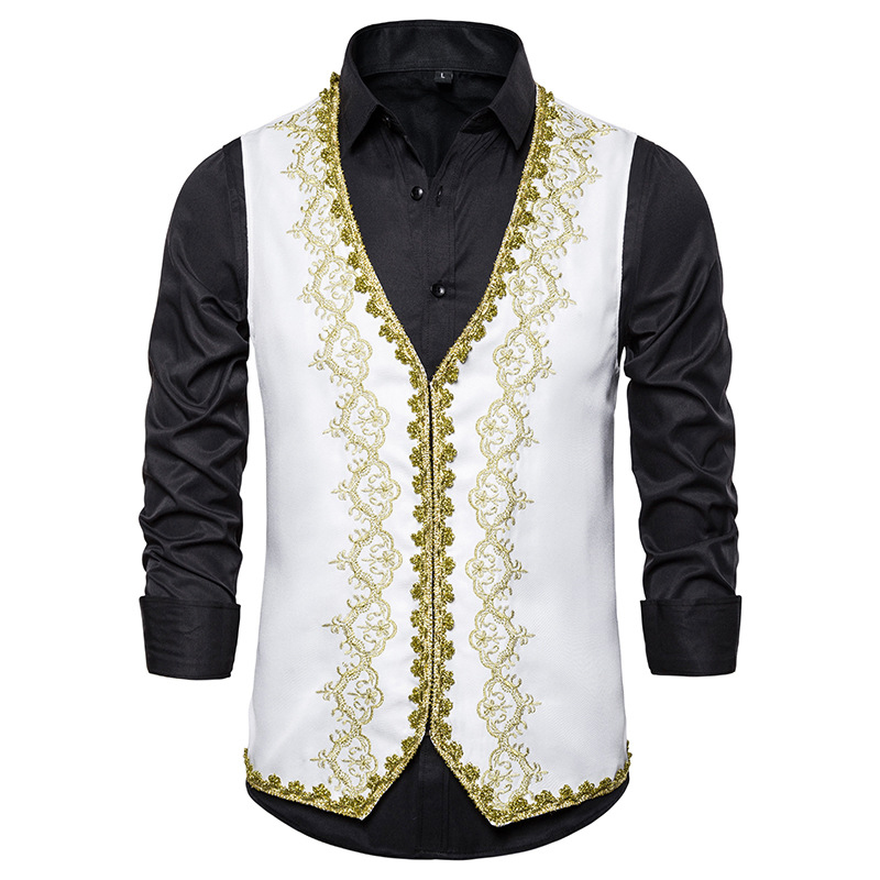 2020 New Men's Classic Two-Piece Embroidery Court Stage Singer Wedding Dress Jacket Vest Clothing Men