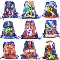 30PCS 어린이를위한 AvengersParty 가방 생일 부직포 배낭 어린이 여행 학교 가방 장식 Drawstring 선물 가방