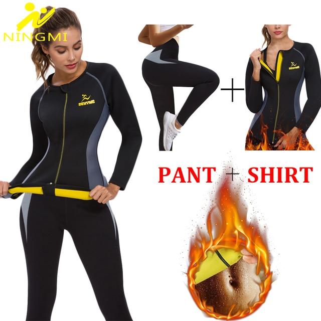 NINGMI Neoprene Sauna Suit Long Sleeve Shirt + Legging Body Shaper Sports Set Women Control Panties Pant Waist Trainer Shapewear