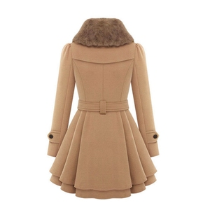 Image 2 - Manteau long mélangé de laine pour femme, manches longues, col rabattu, pardessus chaud et élégant en cachemire, hiver, veste de survêtement, décontracté