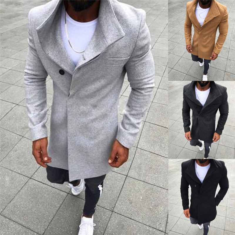 New Men's Casual Long Wool Button Jackets Solid Color Long Sleeved Windbreaker Coat Men Fashion Winter Warm Coats Trench Clothes