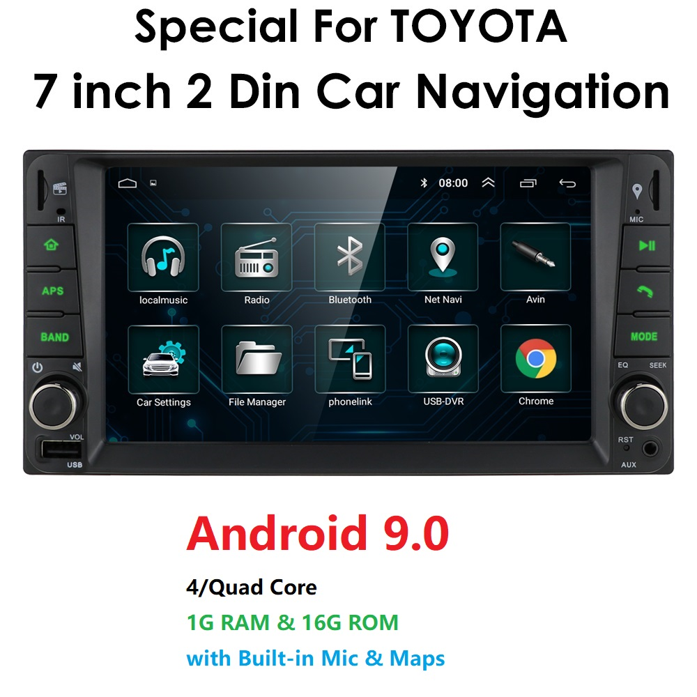 car Android 9.0 multimedia for toyota corolla 2 Din Universal car radio with navigation Bluetooth Wifi car stereo gps player(China)