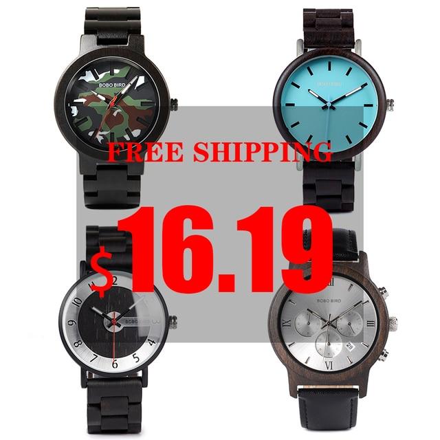 BOBO BIRD นาฬิกาผู้ชายไม้ Clearance ราคาโปรโมชั่น QUARTZ นาฬิกาข้อมือชาย relogio masculino ขายส่งคุณภาพสูง