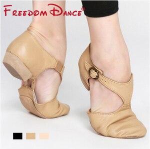 Image 4 - Zapato de Ballet elástico de cuero genuino para mujer, zapatos de baile de Jazz, sandalias de baile para profesores, calzado de punta