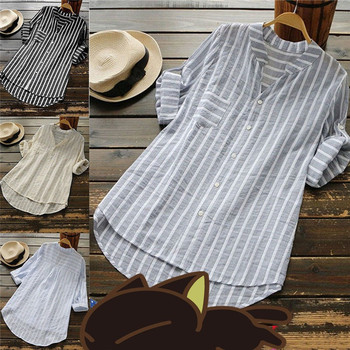 Women New Summer Striped V-Neck Blouses Loose Baggy Shirts and blouses Cotton and Linen Button Padding Tunic Blouses Plus Size 2