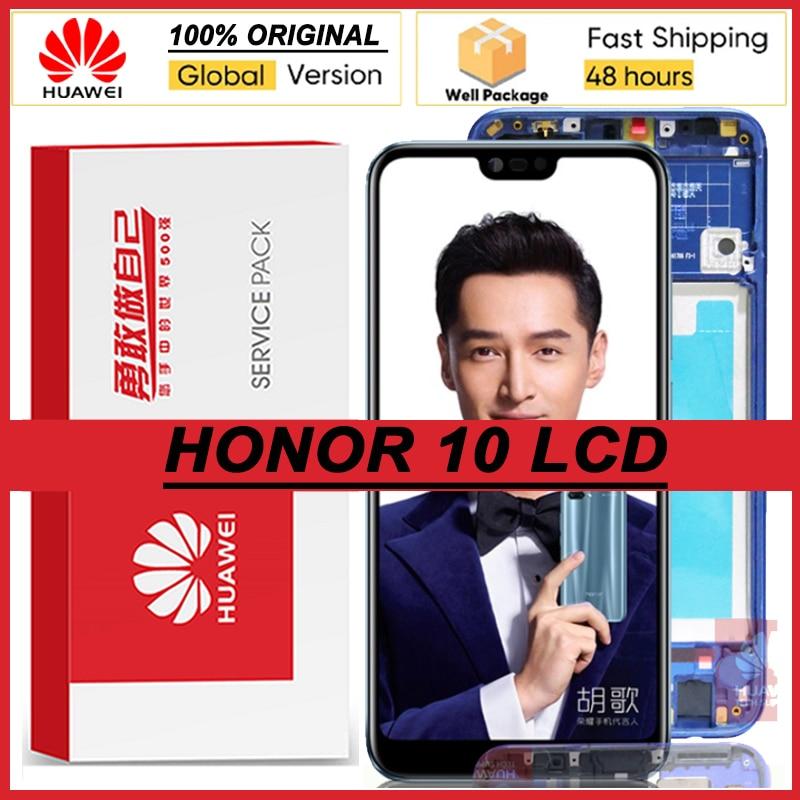 100% Оригинальный 5,84 ''IPS дисплей с рамкой для Huawei Honor 10 COL-L29 LCD сенсорный экран дигитайзер + отпечаток пальца запасные части