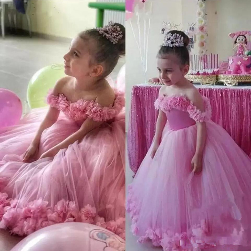 Lovely Pink Princess Flower Girls Dresses Off Shoulder Tulle Hand Made Flowers Floor Length Birthday Child Girl Pageant Gowns