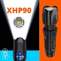 Super brillante linterna LED táctica Zoom ajustable 5 modos de iluminación Led antorcha uso batería recargable 18650