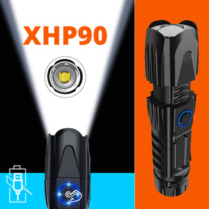 MINI Super Bright XHP90 Most Powerful Flashlight Rechargeable LED Hunting Hand Lamp USB Torch XHP70 XHP50 26650 Zoom Flash Light