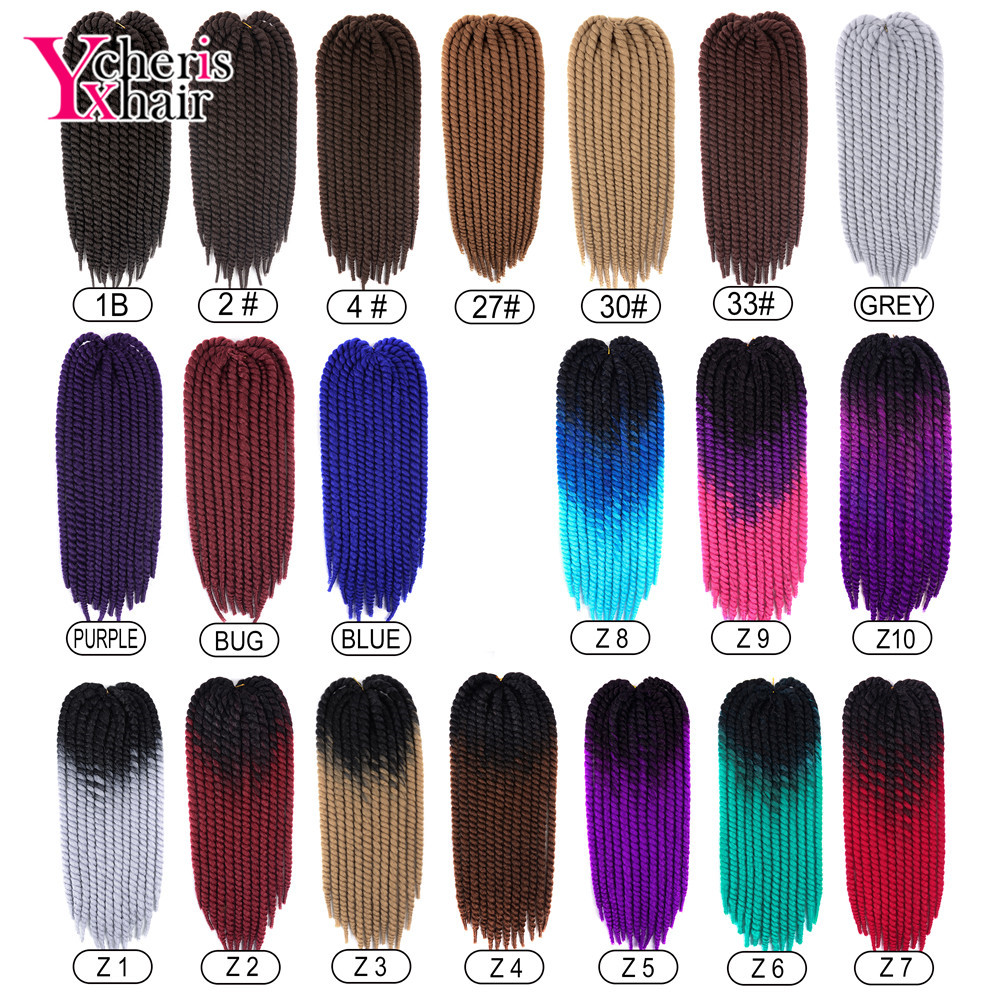 "YXCHERISHAIR Havana Mambo Twist Crochet Braid Hair 1-9Pcs/pack 120g 22"" Long Ombre Synthetic Hair Extensions 20 Colors"