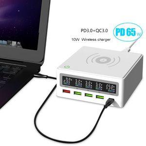 Image 1 - 5 ميناء QC3.0 USB Type C PD 65 واط محول الطاقة تشى شاحن لاسلكي الهاتف المحمول محطة شحن سريع قفص الاتهام للهاتف المحمول