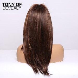 Image 5 - Pelucas de pelo largo ondulado sintético resistente al calor para Mujeres Afro Americanas, color azul degradado, con flequillo
