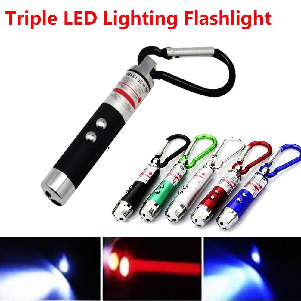 Multifunction Portable Laser Light Pointer LED Torch Flashlight Pocket Lamp