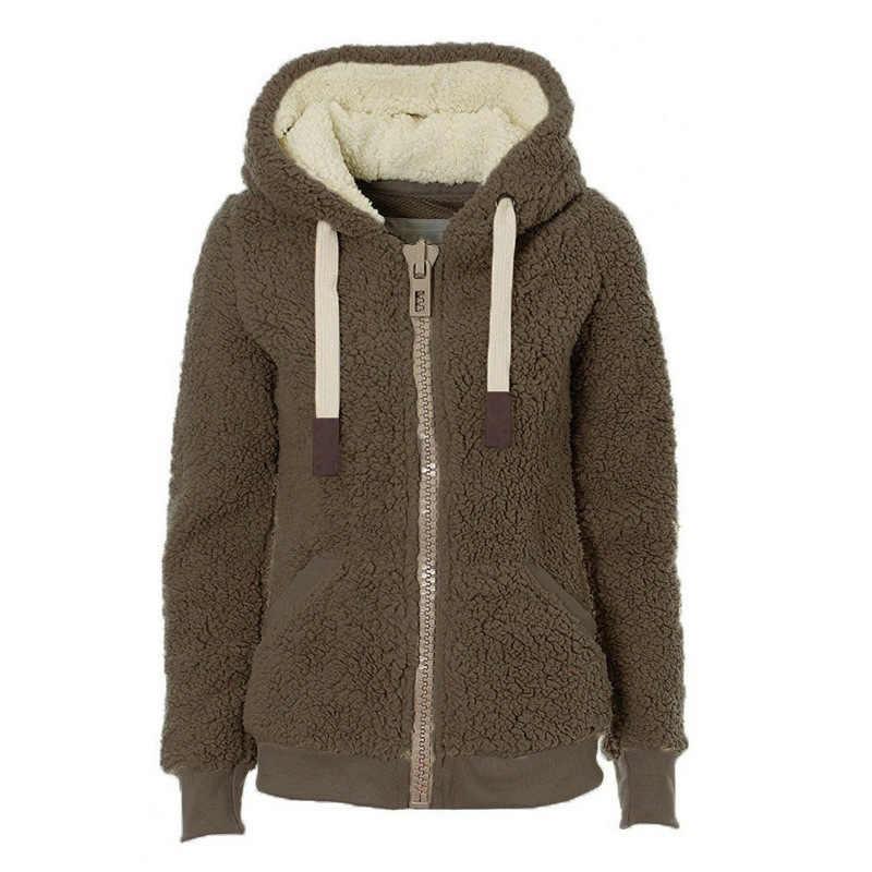 חורף נשים של רך קטיפה מעיל גבירותיי רוכסן מעילי פלאפי חולצות סלעית Loose בגדים חמים
